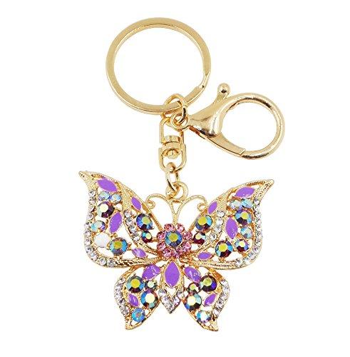 Butterfly Key Rings - Gorse Butterfly Keychain for Women Car Key Ring Handbag Gift Bag Key Chain Decoration Purple