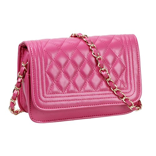 BMC Womens Fuchsia PU Faux Leather Diamond Quilted Pattern Mini Handbag Shoulder Strap Clutch