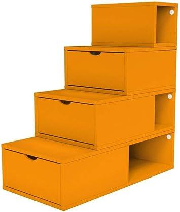 ABC MEUBLES - Escalera Cubo para Guardar Cosas 100 cm - ESC100 - Gris Aluminio: Amazon.es: Hogar