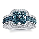 Sterling Silver 1.00ct Blue and White Diamond Floral Ring