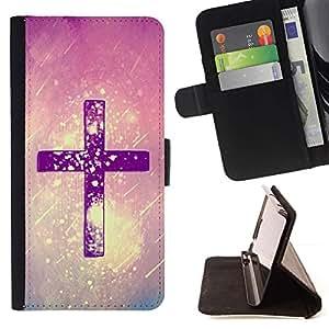 Cristo Nieve Rosa Púrpura Dios Religiosa- Modelo colorido cuero de la carpeta del tirón del caso cubierta piel Holster Funda protecció Para Apple iPhone 5 / iPhone 5S