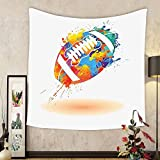 Gzhihine Custom tapestry Sports Decor Tapestry Spherical Soccer Ball Illustration with Colorful Distressed Details Like in Motion Art Graphic Bedroom Living Room Dorm Decor 60 x 80 Multi