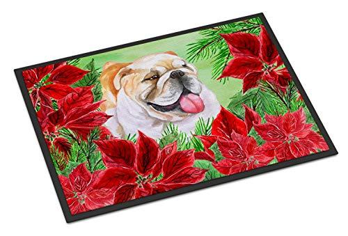 (Caroline's Treasures English Bulldog Poinsettias Doormat 18