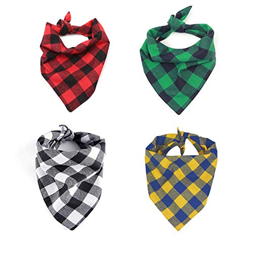 Eage Dog Bandanas, 4PCS Triangle Bibs Washable Reversible Double-Layer Cotton Buffalo Plaid Printing Scarfs Set, Kerchief Accessories for Small to Medium Dogs Cats Pets