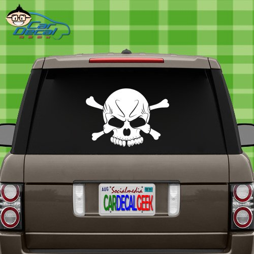 Car Decal Geek Cool Skull Vinyl Decal Sticker Bumper Cling for Car Truck Window Laptop MacBook Wall Cooler Tumbler | Die-Cut/No Background | Multi Sizes/Colors Green, -