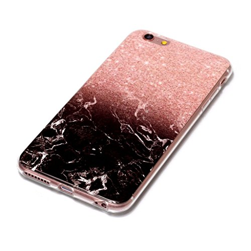 iPhone 6 / 6S Coque,Marbre noir Premium Gel TPU Souple Silicone Clair Bumper Protection Housse Arrière Étui Pour Apple iPhone 6 / 6S + Deux cadeau
