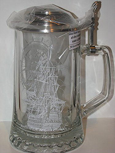 Nautical Sailing Etched German Glass Beer Stein