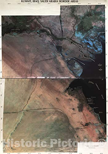 Historic 2003 Map   Kuwait, Iraq, Saudi Arabia Border Areas. 31in x 44in