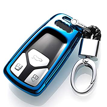 ontto for Audi Key Fob Case 360 Remote Control Key Fob Holder Jacket Degree Full Protection Key Shell Compatible with 2016 Audi Q7 A4L TT TTS Black