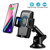 CLEEBOURG Wireless Car Charger Mount, 10W Qi Fast Wireless Charging Car Holder, Air Vent Phone Charger Holder for iPhone X 8 8+, Fast Charger for Samsung Galaxy S9 S8 S8+ S7 Edge, Note 8 5
