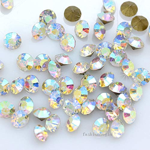 Pukido 1440p PP31 ss16 4mm Round Color Point Back Czech Crystal Rhinestone Jewels Faceted Glass Stone chatons Nail Art Beads Craft Gems - (Color: Clear ab) (Crystal Point Back Rhinestone)