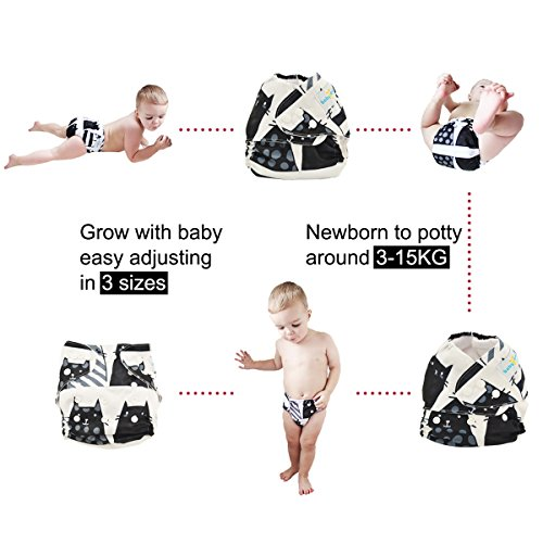 Babygoal Baby Cloth Diapers, One Size Washable Pocket Nappy, 6pcs Cloth Diapers+6 Inserts+4pcs Bamboo Inserts