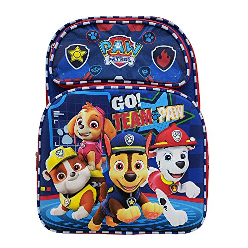 Nickelodeon Paw Patrol Rescue Pups Characters 3D Molded Front Backpack Book Bag Tote for Back to School