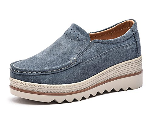 (Rainrop Women Platform Slip On Loafers Shoes Comfort Suede Moccasins Fashion Casual Wedge Sneakers Gray 35)