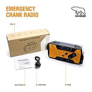 51GTtPqPW5L. SS300  - Best Hand Crank Solar Flashlight Radio Rechargeable With SOS Alarm System | 2000mAh Emergency Wind Up Solar Powered Flashlights | Compact Mini Hand Cranked LED Torch for Camping Climbing Hiking