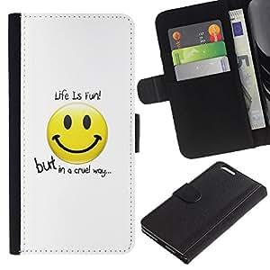 Planetar® Modelo colorido cuero carpeta tirón caso cubierta piel Holster Funda protección Para Apple (5.5 inches!!!) iPhone 6+ Plus ( Funny Life Is Fun )