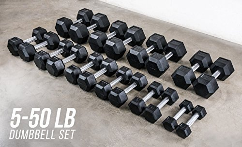 Rep 5-50 lb Rubber Hex Dumbbell Set, Low Odor