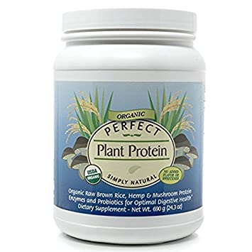 Perfect Plant Protein Simply Natural with No Flavor or Sweeteners – Organic Raw Brown Rice, Hemp Mushrooms Protein Powder – Net wt. 24.9 oz.