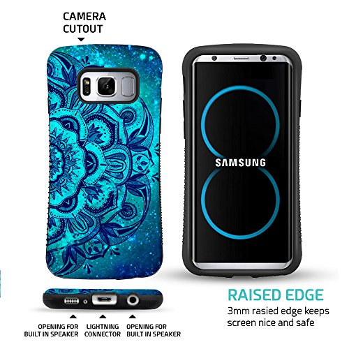 ZUSLAB Galaxy S8 Plus Case, Pattern Design, Shockproof Armor Bumper, Heavy Duty Protective Cover for Samsung Galaxy S8 Plus (Blue Mandala)