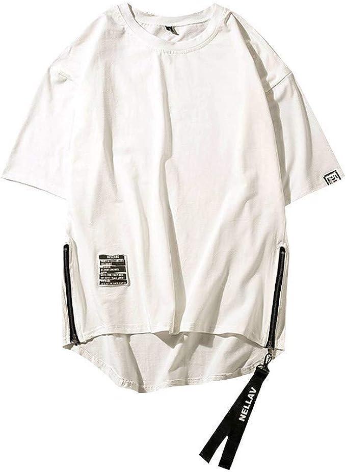 Comboo Camisa Japonesa De Manga Corta para Hombre Cremallera Bilateral Dobladillo Ajustable Primavera Y Verano Use Una Camiseta Casual Holgada para Hombre: Amazon.es: Ropa y accesorios