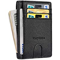 RUNBOX Minimalist Slim Front Pocket Wallets for Men or Women with RFID Blocking & Genuine Leather