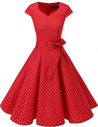 DRESSTELLS Retro 1950s Cocktail Dresses Vintage Swing Dress with Cap-Sleeves Red Small Black Dot S (Dot Petticoat)