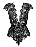 Anyou Women Lingerie Deep V Neck Lace Teddy Features Plunging Eyelash and Snaps Crotch Black XX-Large