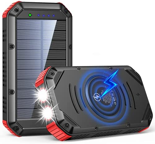 Solar Charger 30000mAh, Solar Power Bank, Wireless Portable Charger Quick Charge 18W Type C Charger with 6 Outputs Dual Flashlight External Battery Pack Outdoor Camping Accessories for iOS Android