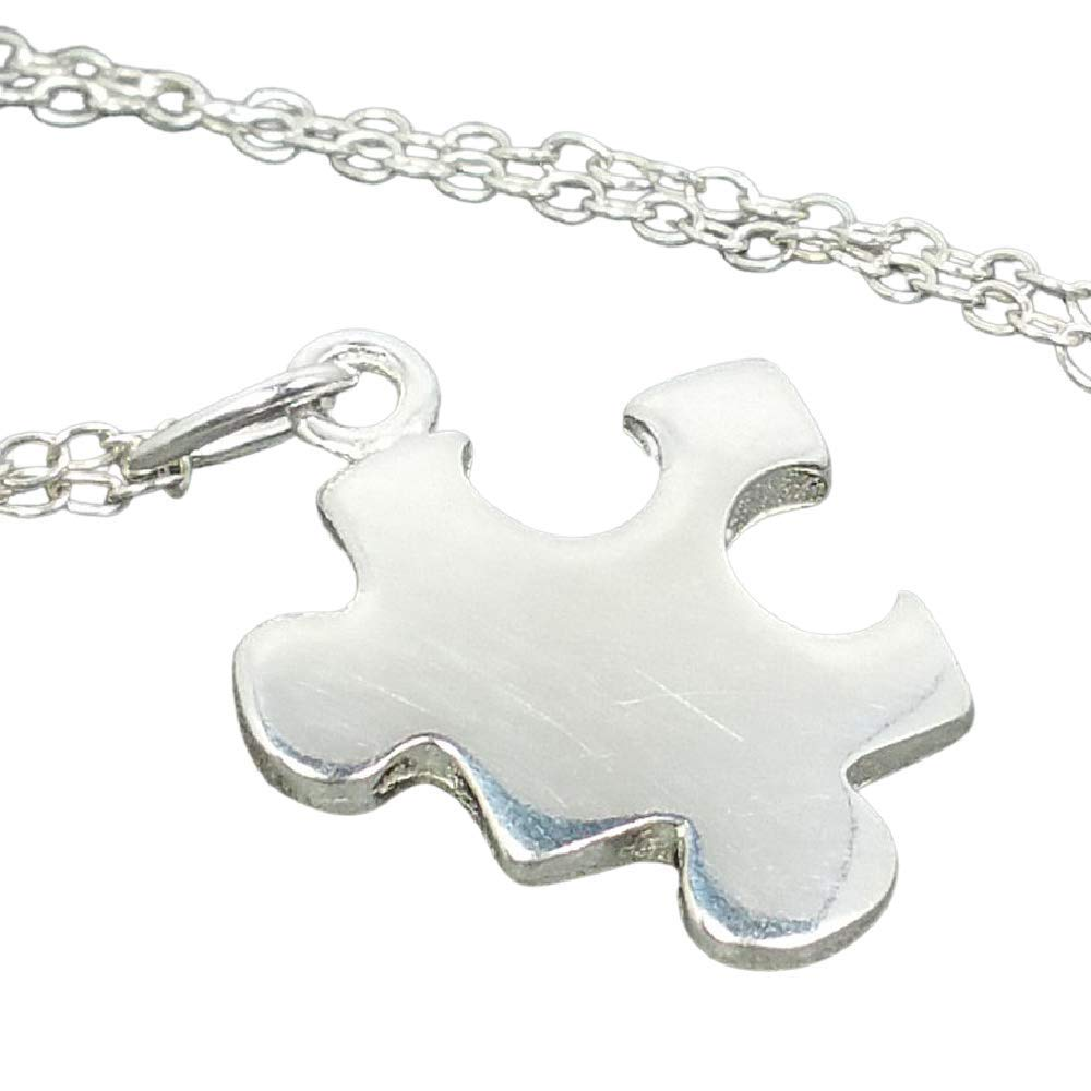 Puzzle Piece Necklace Silver Puzzle PIece Charm on a Silver Cable Chain