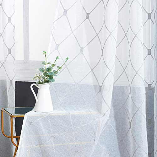 Top Finel White Sheer Curtains 84 Inches Long Grey Embroidered Diamond Grommet Window Curtains for Living Room Bedroom, 2 Panels