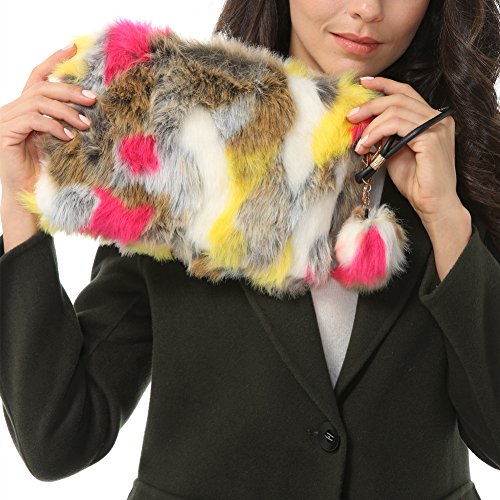 Dikoaina Fashion Women Faux Fur Handbag Evening Clutch Phone and Wallet Purse Lady Bag