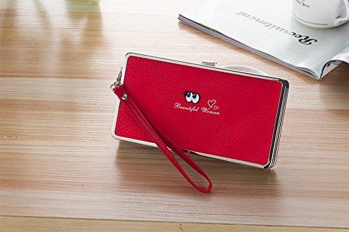 WTUS Damen Langen Niedlichen Cartoon Brieftasche Handtasche Tasche Clutch Geldbörse Rot oTNu5ZHFx