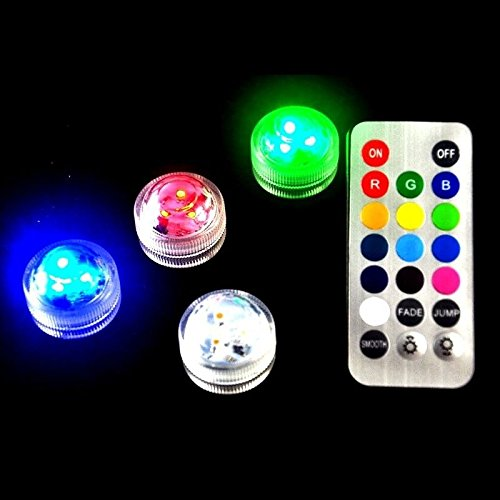 10 Piece RGB Color Changing Submersible LED Floralyte With Remote Super Bright For Centerpiece Wedding Birthday Anniversary Christmas(RGB Color Changing)