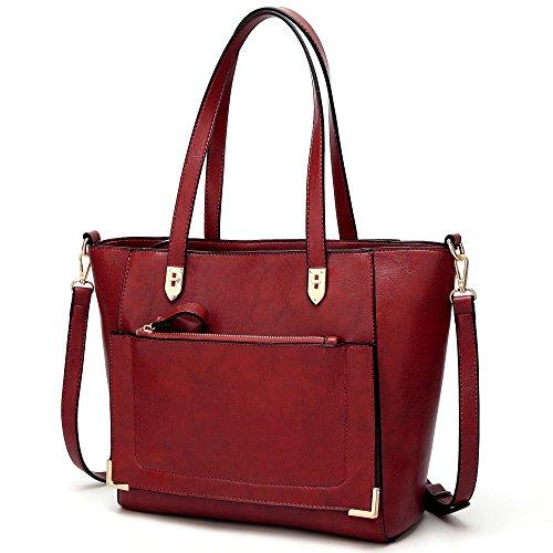 YNIQUE Women Top Handle Handbags Satchel Purse Tote Bag Shoulder Bag, Wine, Medium by YNIQUE