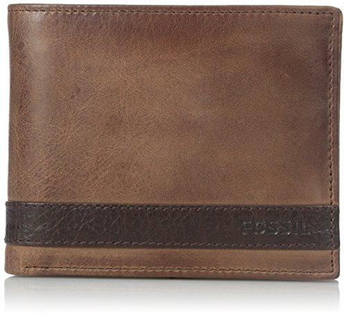 Fossil Embossed Wallet - Fossil Men's Flip ID Bifold Wallet, Brown, One Size