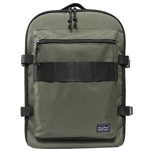 Unique Stylish High-capacity Zipper Canvas Casual Laptop Bag Shoulder Bag Travel Bag (Khaki) - 4