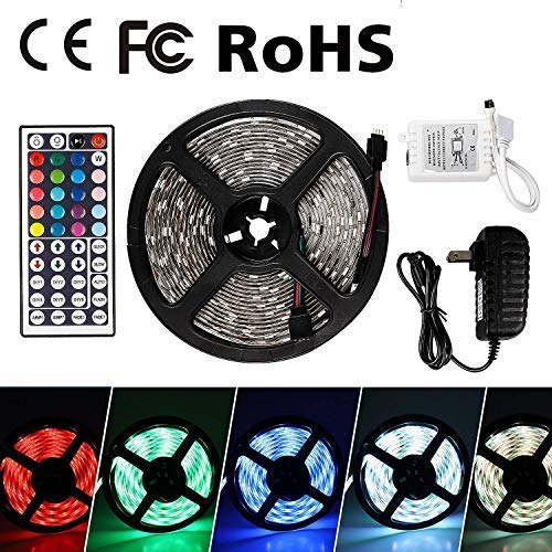 Flexible LED Strip Light Kit 5M/16.4Ft LED Rope Lights 300 LED Waterproof Tape Light, Color Changing RGB LED Strip Lights & 44Key Remote Controller and 12V Power Supply for DIY Bedroom Home Bar Party