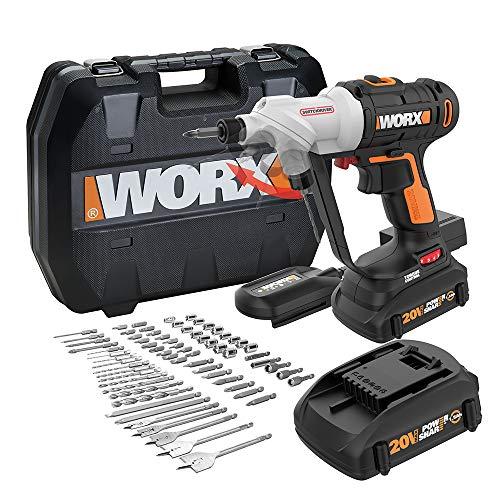 WORX WX176L.1 Switchdriver Taladro y destornillador inalámbrico 2 en 1 con mandriles dobles giratorios y motor de 2 velocidades con kit de control de par electrónico preciso (67 piezas)