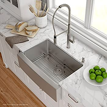... Combo With 30 Inch Single Bowl 16 Gauge Apron Front Farmhouse Sink And  Nola Commercial Kitchen Faucet With Soap Dispenser, Stainless Steel