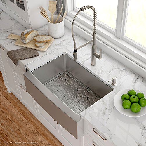 Kraus KHF200-30-1650-41SS 30 Inch Combo with Single Bowl 16 Gauge Apron-Front Farmhouse Sink and Nola Commercial Kitchen Faucet with Soap Dispenser in Stainless ()