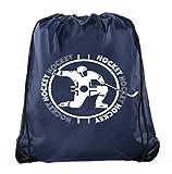 Hockey Party Bags | Hockey Drawstring backpacks for Birthdays, Team Events & More! - 10PK Navy CA2500HOCKEY S2