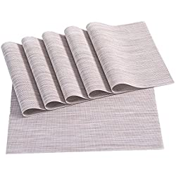 Placemats,Placemats for Dining Table,Heat-resistant Placemats, Stain Resistant Washable PVC Table Mats,Kitchen Table mats,Set of 6 (2:LINEN)