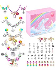 HiUnicorn DIY Unicorn Bracelet Crafts Making Kit for Teen Girls, Colorful Jewelry Making Set with Silver Plated Charm, Bracelets Necklaces Rainbow Beads Supplies Kit Christmas Birthday School Day Gift (73)