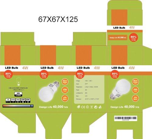 CMVision 4 Watt E26 LED Light Bulb 270 Degree Wide Angle Warm White 3000K