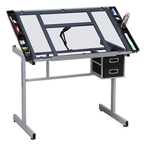 Yaheetech Adjustable Drafting Table Drawing Desk Art Desk...