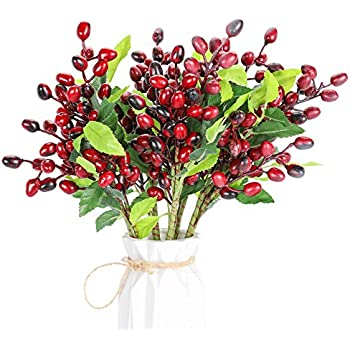 Bivilictek 5Pack Artificial Berries Stems 15in Red Berries Holly Christmas Berries for Wedding Christmas Decor (Christmas red)