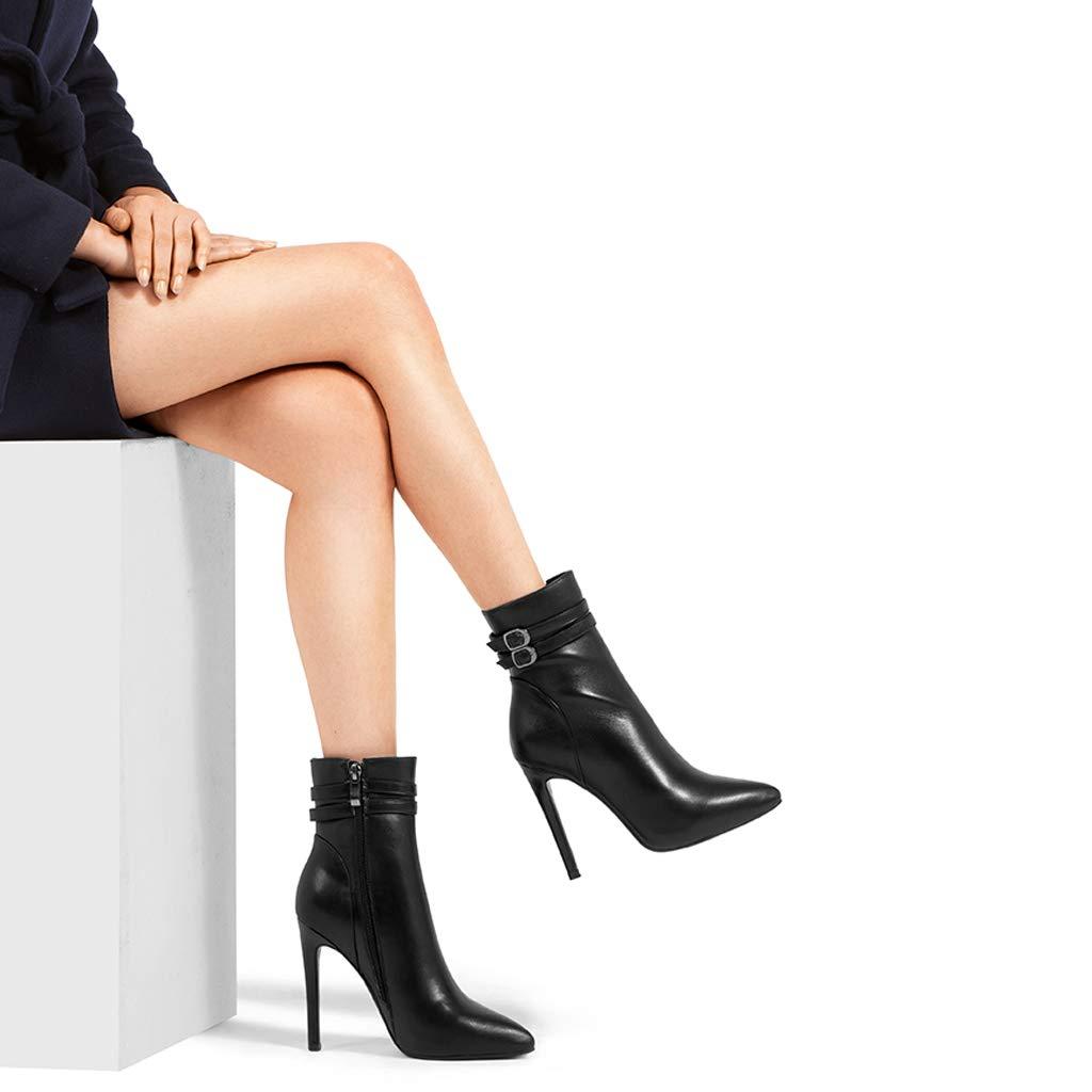 2018 Herbst Und Winter Neue Leder Wasserdichte Wasserdichte Leder Plattform High Heel Stiefel Frauen Schwarz Feine Stiefel Stiefel Sexy Frauen (Farbe   SCHWARZ, größe   34) eb0958