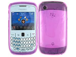 Purple Flowers Butterfly Clear TPU Ice Candy Skin Soft Gel Rubber Case Cover for Blackberry Curve 2 8520 8530 9300 9330