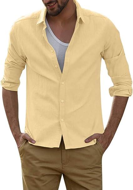 SoonerQuicker Camisa de Hombre T Shirt Blusa de Lino Holgada para Hombre Color sólido Camisas de Manga Larga con Cuello Vuelto Blusa tee: Amazon.es: Ropa y accesorios