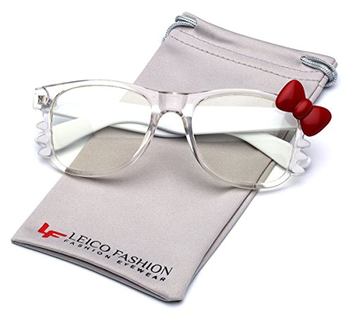 Hello Kitty Bow Women's Fashion Clear Lens Glasses with Bow and Whiskers (Clear - White | Red Bow, - Bow Kitty Glasses Hello